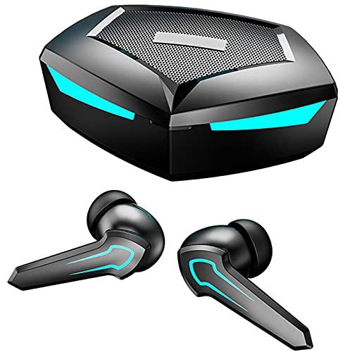 ML S HJDY Auriculares para Juegos, Auriculares Bluetooth en la Oreja, Auriculares estéreo con Dos Modos de Juego y música y luz de respiración, adecuados para Juegos y Trabajo,Negro