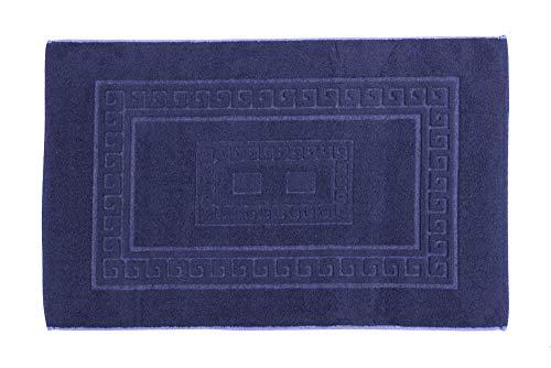 HomeLife – Alfombra de baño Rectangular de algodón – Alfombrilla para Ducha de Calidad Fabricada en Italia y Lavable en Lavadora – Estilo clásico y Elegante, Azul Oscuro, 60x120