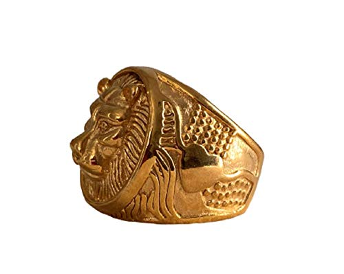 Mens 14k Gold Finish Greek God Mythology Lion Head Retro Vintage Pinkie Ring - Men's Ring, Perfect Ring, Wedding Rings, Promise Ring, Engagement Ring, Wedding Bands (Gold, 8)