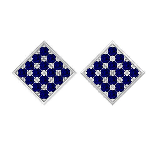 1.60 CT Round SGL Certified Blue Sapphire Cluster Square Stud Earring, Antique July Birthstone Statement Earrings, Bridal Wedding Anniversary Earring Gift Idea,18K White Gold, Pair