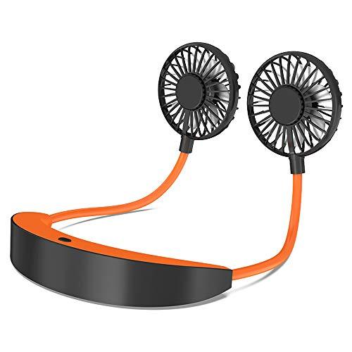 AISIR Tragbarer USB Ventilator, Mini Elektrischer Ventilator Hals Ventilator Handfrei Ventilator mit 5200mAh, 4 Geschwindigkeiten 6-10h Akkulaufzeit für Reisen, Outdoor Sport, Büro, Zuhause-Orange