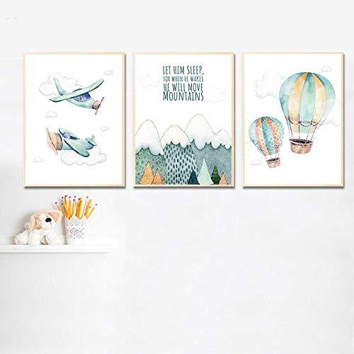 SHENLANYU Impresión en Lienzo Póster de Aventura Infantil Impresión de Acuarela Obra de Arte Avión Globo Cuadro de Pared Niños Niño Dormitorio Decoración 15.7'x23.6 (40x60cm) Sin Marco