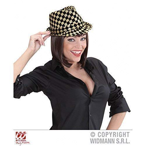 Lively Moments Eleganter Ska- / Trilby- Hut in Gold-schwarz Kariert