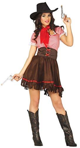 Fancy Me Damen Sexy Cowgirl Cutie Rodeo West Wilder Westen Cowboys und Indianer Kostüm Kleid Outfit - Braun, 36-38