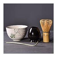 4ピース/セットティーウェアセット伝統的な抹茶ギフト竹ティーセット泡立て屋スクープムーティックマッチャーボウル泡立て器ホルダーティーセット 茶杯套装 (Color : Style A)