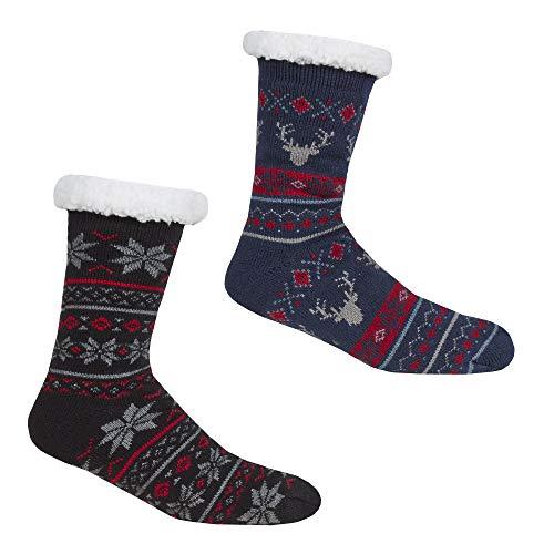 Storeline Pack de 2 calcetines de forro polar para hombre con agarre Black, Navy 39-46