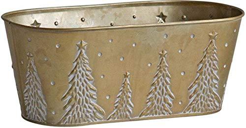 AUBRY GASPARD Corbeille en métal doré Sapin de Noel 26.5 cm