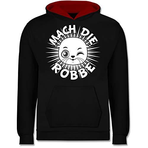 Shirtracer Up to Date Kind - Mach die Robbe - 140 (9/11 Jahre) - Schwarz/Rot - Spruch - JH003K - Kinder Kontrast Hoodie