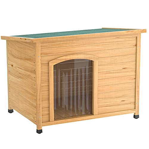 Homykic Wooden Dog House Outdoor, Wood Pet Kennel Log Cabin Insulated Shelter Pet Crate Weatherproof with Door Flap, Open-Up Roof, Raised Floor, 30.7x20.5x22.4 Inch, Small