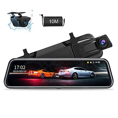 10 \'\' Spiegel Dashcam, 1080P rückspiegel dashcam Spiegel FHD Nachtsicht Voll-Touchscreen Vorder- und Rückansicht Rückfahrkamera für Autos Loop-Aufnahme Streaming-Medien 170 ° mit 10-Meter-Kabel