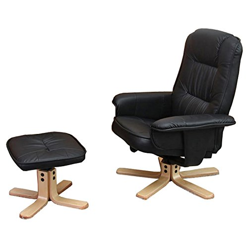 Mendler Relaxsessel Fernsehsessel Sessel mit Hocker M56 Kunstleder ~ schwarz