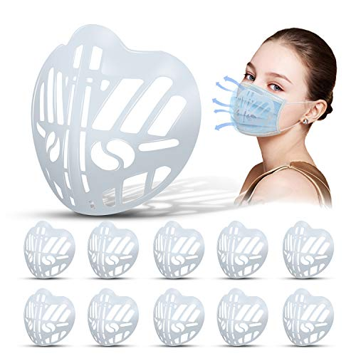 Supsiah 3D Mask Bracket Inner Support Holder Frame Lipstick Protection Cool Silicone More Breathing Space for Comfortable Reusable Washable Helps Breathe smoothly 10pcs Clear
