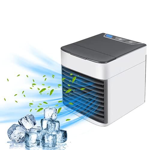 Bizcasa Aire Acondicionado Portátil,Mini Enfriador de Aire,Purificador, Humidificador, Ventilador,con 3 velocidades ajustables, 7 luces LED, hogar y la oficina Dormitorio