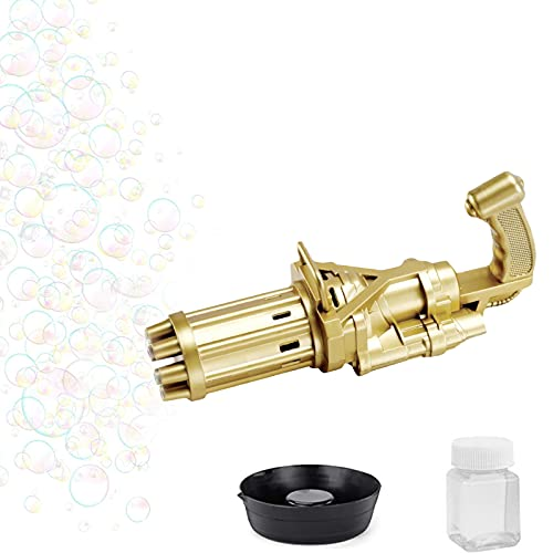 Pistola de Burbujas Niños, Máquina de Burbujas Gatling 2021 Pistola de Burbujas Soplador, 8 Orificios Eléctrica Automática Máquina para Hacer Burbujas Pistola,Juguetes de Burbujas para Niños (Oro)