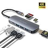 dodocool usb c ハブ 4K HDMI Thunderbolt 3 SD/MicroSD カードリーダー 3 USB3.0 MacBook Pro 2019/2018/2017/2016 13''15''16''/ MacBook Air 2019/2018に対応 USB C ハブ 5Gbps高速データ転送 100W PD 充電 512GBメモリー (スペースグレイ)