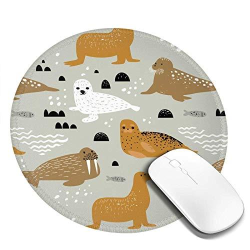 Siegel und Walross Mauspad Runde Kleine Mini Runde Mauspad Personalisierte Kunstdruck Mauspad für Computer Laptop & PC für Schreibtisch Office