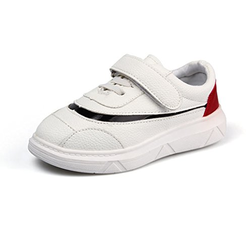 Qianliuk Unisex-Kinder Sneaker Klettverschluss Laufschuhe Weiches Leder Outdoor Trekking Sporschuhe Abriebfest rutschfest Ultraleicht Freizeit Schuhe Weiß 27