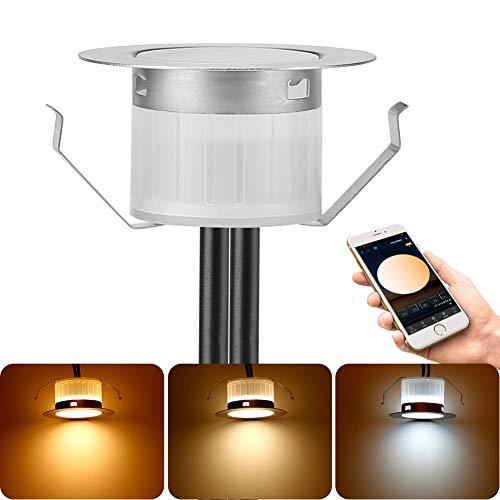 Bluetooth LED Bodeneinbauleuchten Einbaustrahler Aussen Warmweiß Kaltweiß 2700K-6500K, Ø45mm 12V LED Bodeneinbaustrahler Terassenbeleuchtung Boden IP67 Wasserdicht für Balkon Holzdeck Treppen