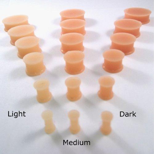 Dctattoo Paar Silikon Flexi Haut Schatten Ohr Hider Tunnel Plugs - Wähle Farbton & Größe - hell, 10mm