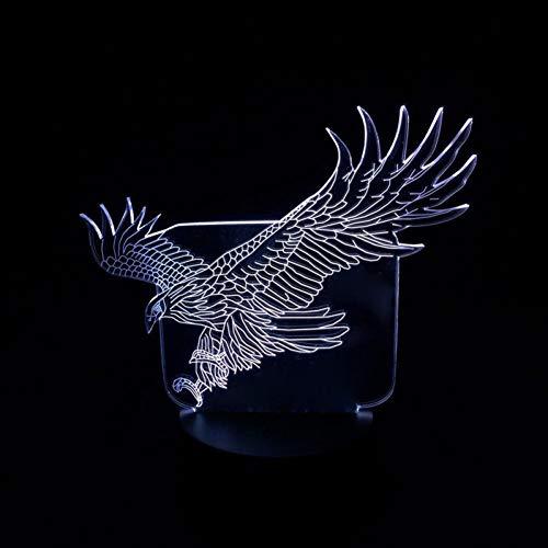 Leeypltm hoogvliegende adelaar 3D illusie lamp LED nachtlampje 7 kleuren wijzigen, Touch Control, USB-oplader, als decoratieve woonkamer slaapkamer, en verjaardag cadeau