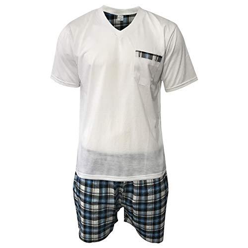 Lavazio Herren Pyjama Schlafanzug Shorty 2-Teiler T-Shirt Uni Hose im Karolook kurz 2-TLG in 5 Farben - Exclusiv, Größe:M, Farbe:Weiss