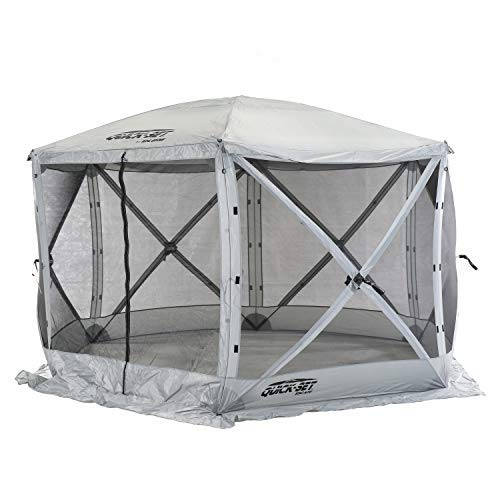CLAM Quick-Set Escape 11.5 x 11.5 Foot Portable Pop-Up Outdoor Camping Gazebo Screen Tent 6 Sided Canopy Shelter with Ground Stakes & Carry Bag, Gray