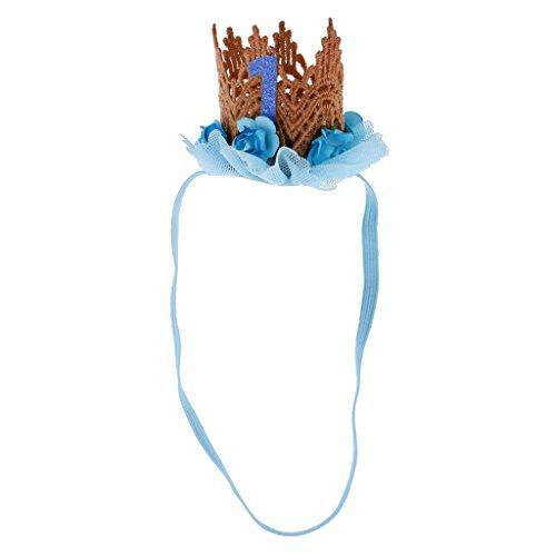 Toygogo Kinder Baby Mädchen Kleinkind Krone Blume Haarband Stirnband 1. Geburtstag Zubehör - Blau