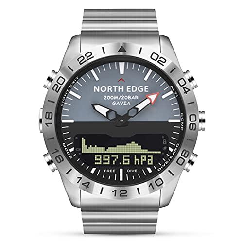 WWJJLL Reloj De Buceo para Hombre, Reloj De Acero Inoxidable, Reloj Deportivo para Natación, Podómetro De Buceo En Profundidad, Reloj Multifunción De Presión De Altitud, Hombre