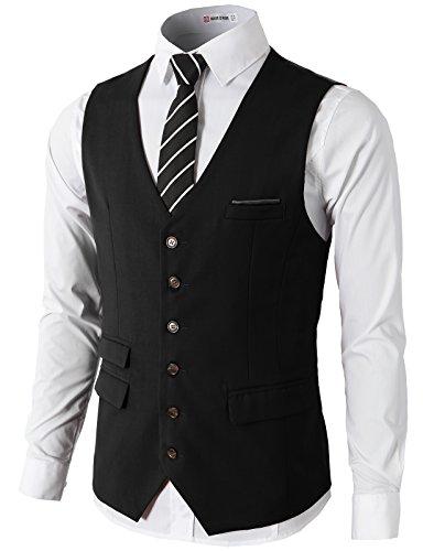 H2H Mens Formal Slim Fit Premium Business Dress Suit Button Down Vests Black US 3XL/Asia 4XL (CMOV031)