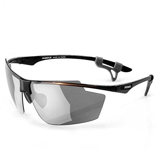 INBIKE Occhiali da ciclismo ultraleggeri polarizzati per attività all'aria aperta bicicletta sport occhiali antivento per uomini e donne MTB attrezzature 2 lenti (nero)