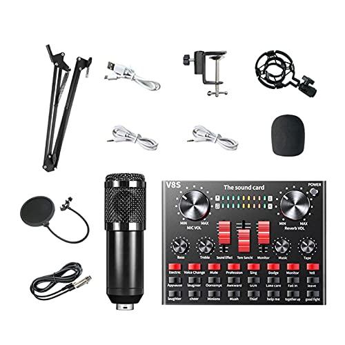 NC Juego de Micrófono de Condensador V8 con Tarjeta de Sonido en Vivo BM-800, Aparato de Streaming para Podcast y Transmision en Vivo en Movil/PC - Negro