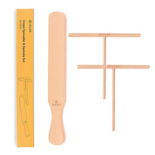 iSiLER Beechwood Crepe Spreader and Spatula Set, 2 Pieces 7 inches Crepe Spreaders, 1 Piece 11.4 inches Crepe Spatula
