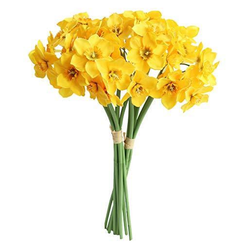 MUFEN 12PCS Artificial Daffodil Tulips Flowers Yellow Spring DIY Silk Flower Arrangement (Yellow)