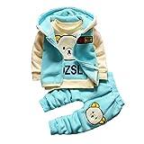 Gyratedream Baby Kleidung Set Junge Trainingsanzug Mädchen Dickes T-Shirt Sweatshirt + Hoodie Zip Up Weste Tops + Hose 3Pcs Outfits für 1-5 Jahre Kinder