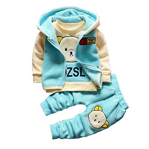 Gyratedream Baby Kleidung Set Junge Bekleidungssets Mädchen Trainingsanzüge Dickes T-Shirt Sweatshirt + Hoodie Zip Up Weste Tops + Hose 3Pcs Outfits für 1-5 Jahre Kinder