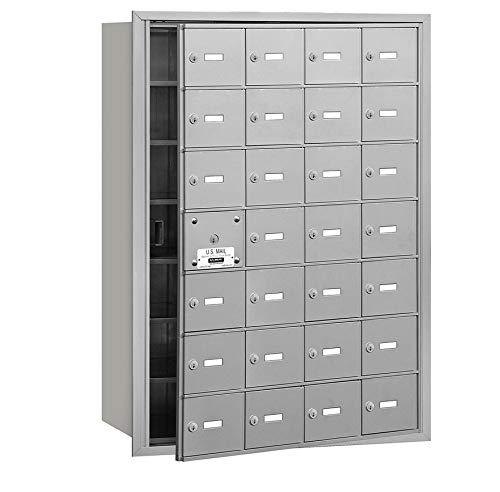 Salsbury Industries 3628AFU 4B Plus Horizontal Mailbox, 28 A Doors 27 Usable, Front Loading, USPS Access, Aluminum