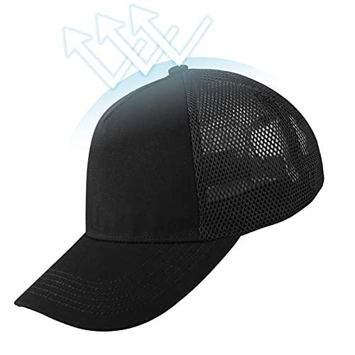 KELOYI Cap Herren Snapback Kappe Trucker Basecap Damen Baseball Schwarz Mesh Verstellbares Sonnenschutz Atmungsaktiv Licht