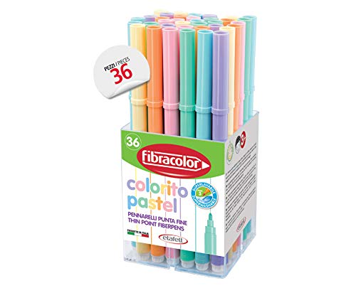 Fibracolor Colorito Pastel Doos 36 kleurpotloden pastelkleuren, fijne punt, super afwasbaar