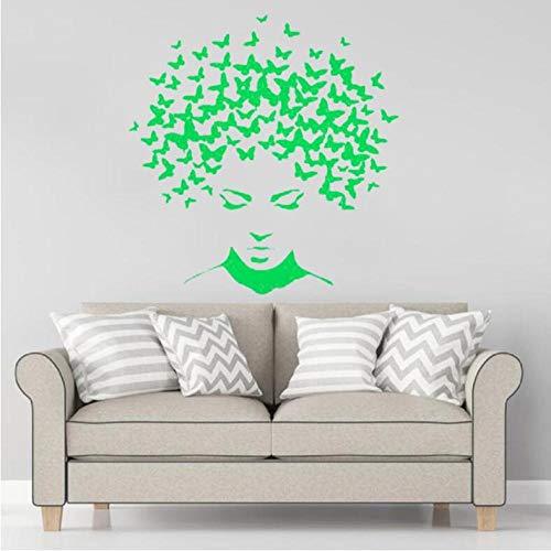 Pegatinas Etiqueta De Pared Arte Verde Chica Con Mariposas Cabello Salón De Belleza Dormitorio Sala De Estar Vidrio Decoración Del Hogar Vinilo 55×66cm