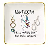 Like A Normal Aunt – Ceramic Jewelry Holder Ring Dish Trinket Tray – Funny Aunticorn Gift For Auntie -Unicorn Aunt Gift For Wedding Anniversary Birthday Mother's day Christmas -Best Aunt Ever Gifts
