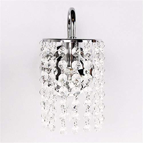 Lámpara de pared con gotas de cristal de hierro cromado, luz decorativa para exteriores, lámpara de pared para pasillo moderna, lámpara duradera para el hogar
