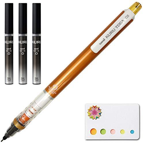 Uni Kuru Toga - Auto Lead Rotating Mechanical Pencil 0.5mm Orange (M54501P.4) + Lead 3 Set (U05203HB.24) and Our Original Sticky Notes