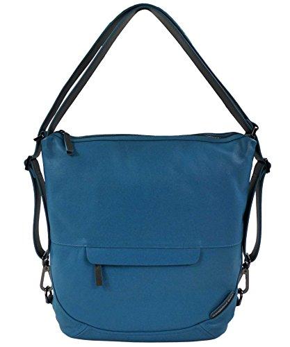 Mandarina Duck Damen Slide Leather 2.0 Tracolla Shoulder/Crossover Bag+Backpack Fjord Blue/Schulter/Umhängetasche, Rucksack (36x32x11 cm)