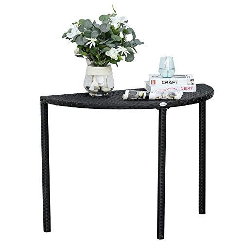 Outsunny Balkontisch Garten Beistelltisch Tisch Gartenmöbel halbrund Polyrattan + Metall Schwarz 100 x 50 x 74 cm