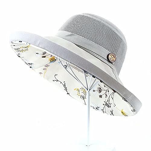 YRONG Sombrero de sol femenino de verano de doble capa floral pequeño arte fresco plegable de ala ancha sombrero de cubo con cuerda a prueba de viento salida de playa