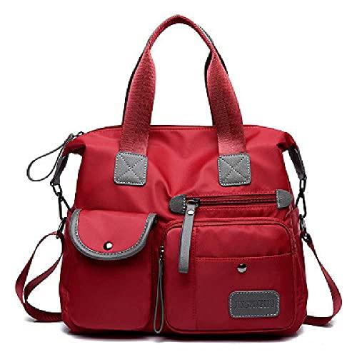 N\C Bolsos de moda para mujer, de nailon, de gran capacidad, con un solo hombro, bolsa de viaje cruzada, 34 x 30 x 13 cm, color rojo vino