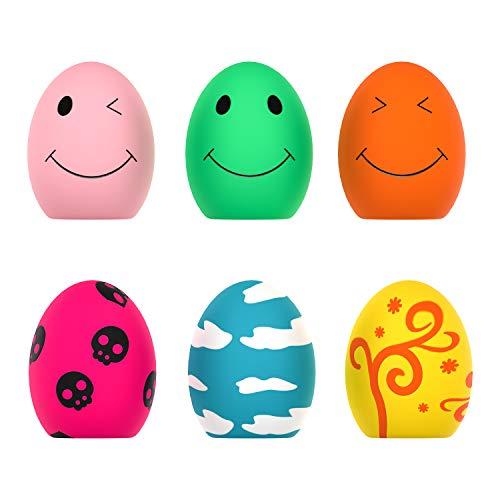 Quietschendes Spielzeug für Hunde, 6 PCS Rubber Bouncy Egg Balls mit Quietschspielzeug für kleine Welpenhunde, Soft Latex Sound Toys für interaktives Abrufspiel,Spielzeug zum Abholen von Spielbällen