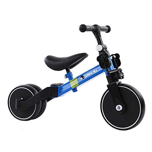 BIWOND Triciclo Jungle Mix (Modo Andador, Modo Triciclo, Modo Bicicleta, Ruedas Anchas, Manillar Antideslizante, Pedales Desmontables, Diferentes Posiciones) – Azul
