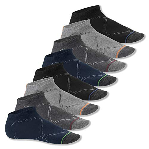 Footstar Herren & Damen Sneaker Socken (8 Paar), Kurze Sportsocken mit farbigen Spitzen - Classic Mix 43-46