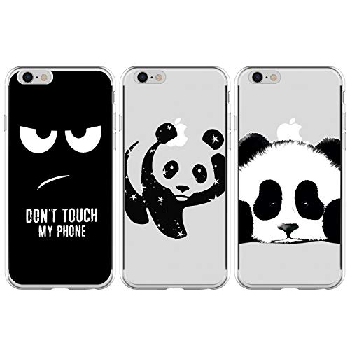 ToneSun - Funda para iPhone 6/6S de 4,7 Pulgadas, Funda de Silicona TPU Suave de Color Negro Brillante y Delgada, protección de 360 Grados